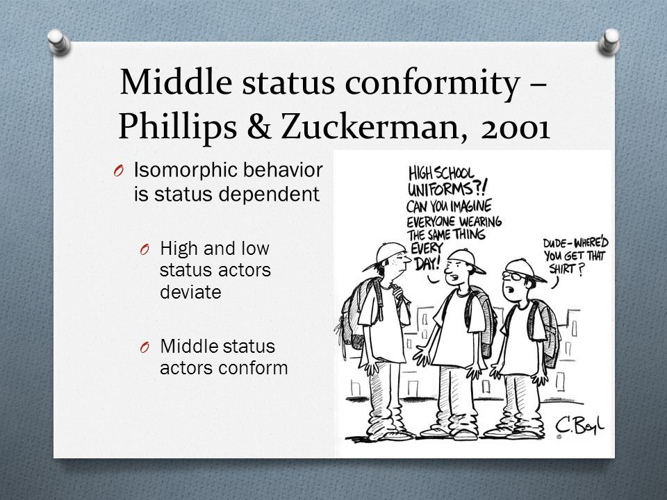 Middle status conformity – Phillips & Zuckerman, 2001