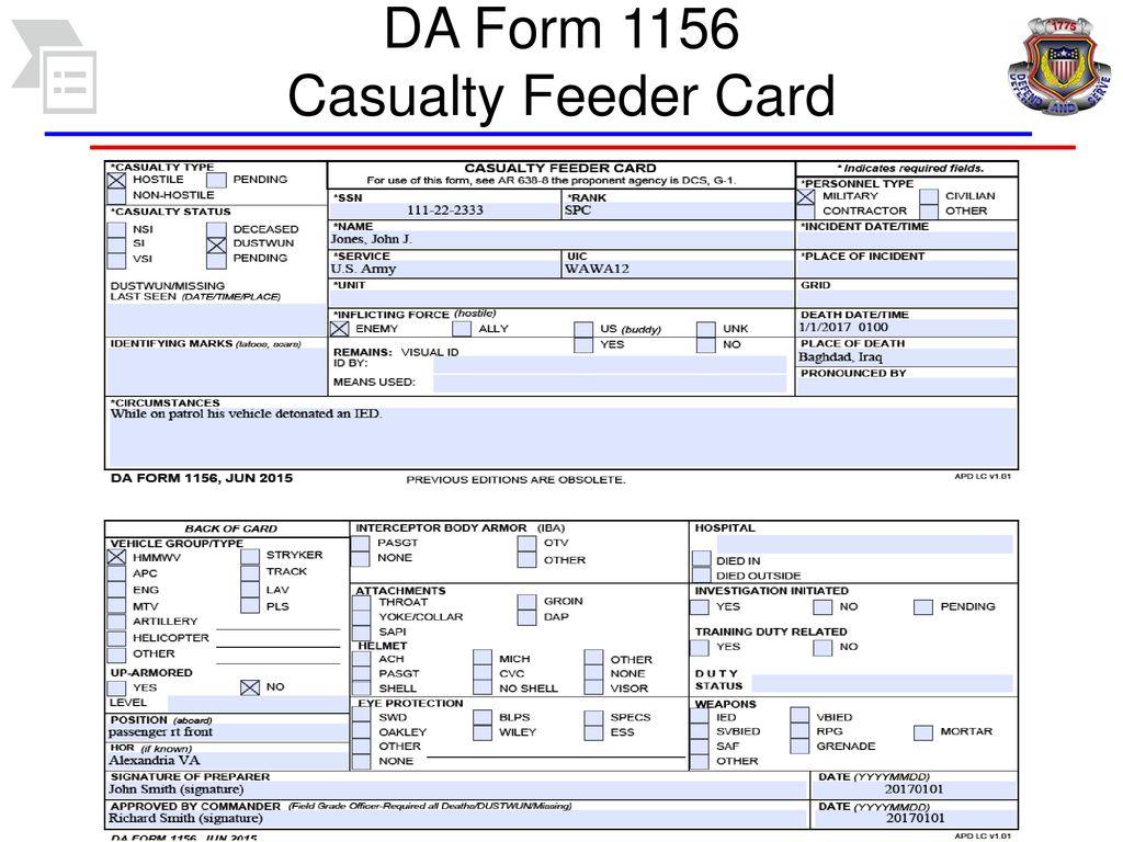 DA Form 1156 Casualty Feeder Card