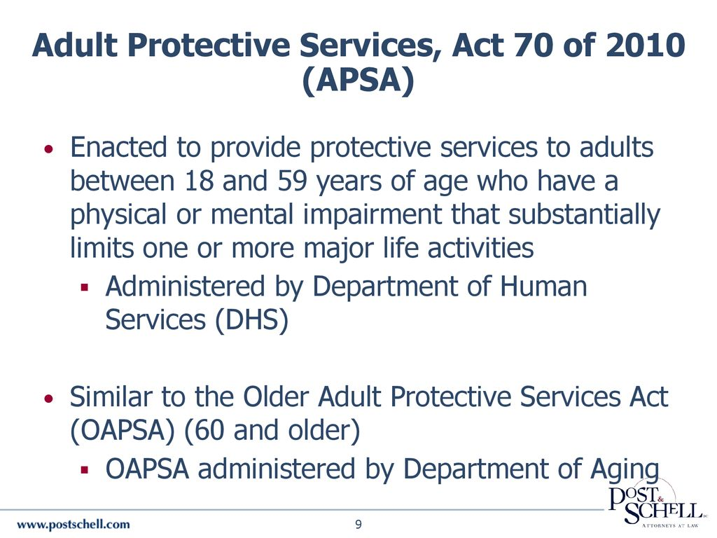 Older adult protective services act have