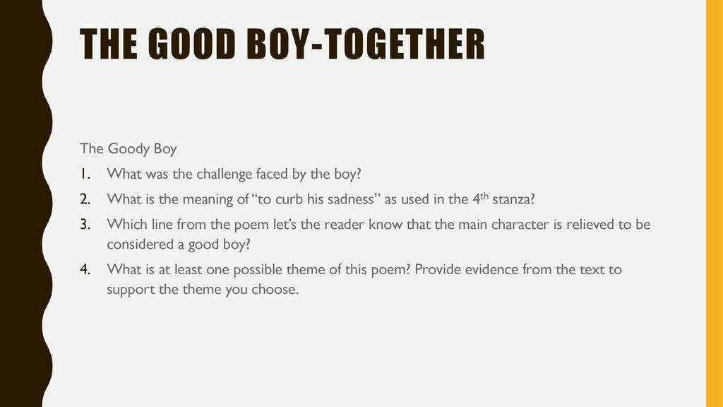 a good boy poem