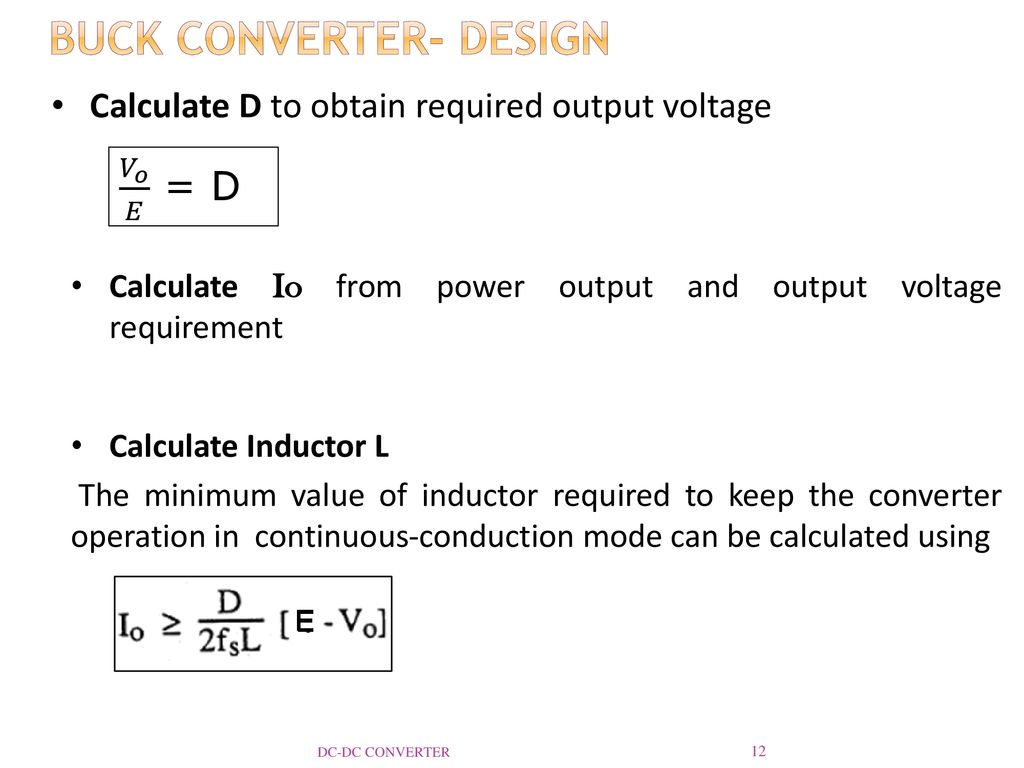 Dc Converter Reference Ppt Download Inductor Requirements For Converters And Filters In Automotive Buck Design
