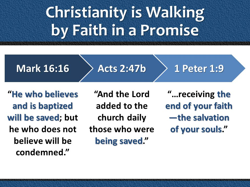 Christianity is Walking by Faith in a Promise