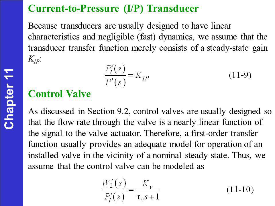 Chapter 11 Current-to-Pressure (I/P) Transducer Control Valve
