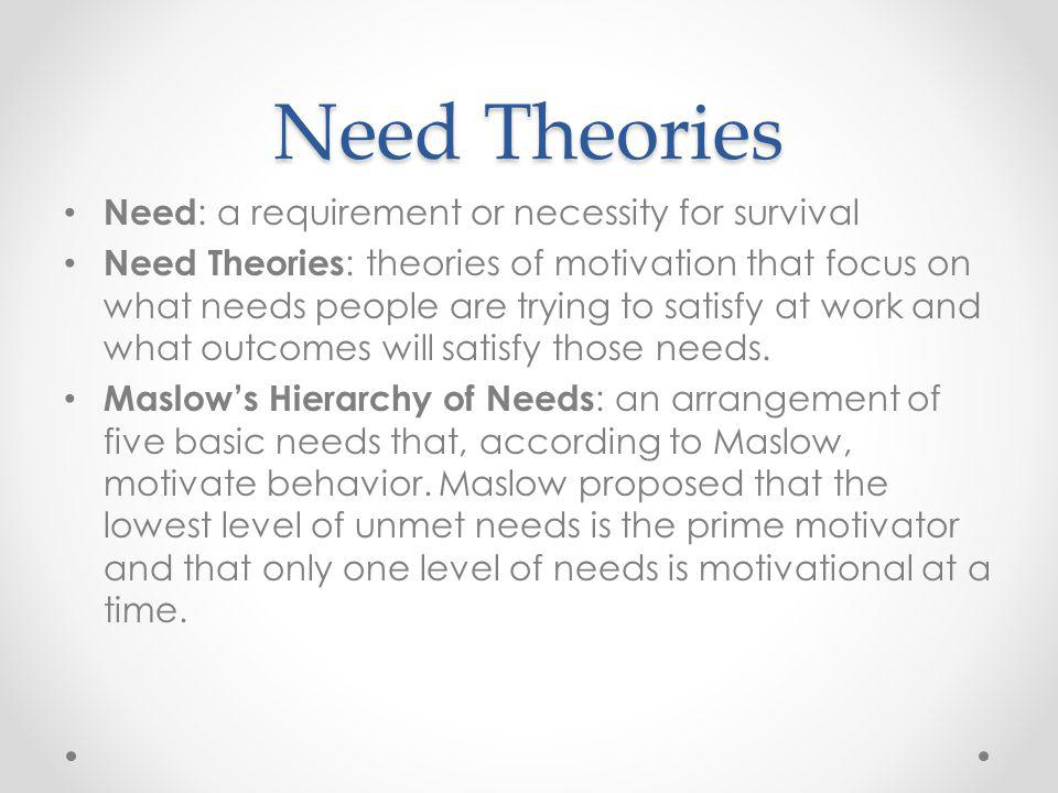 Need Theories Need: a requirement or necessity for survival
