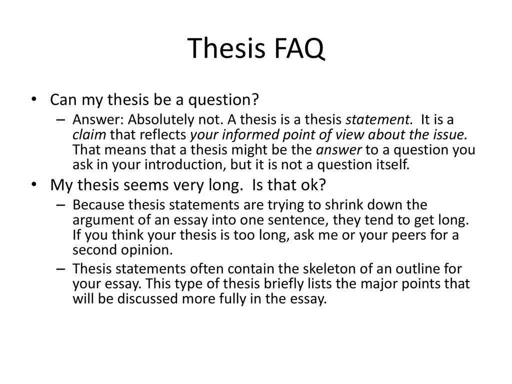 Can Either the Topic Sentence or the Thesis Statement Be a Question?