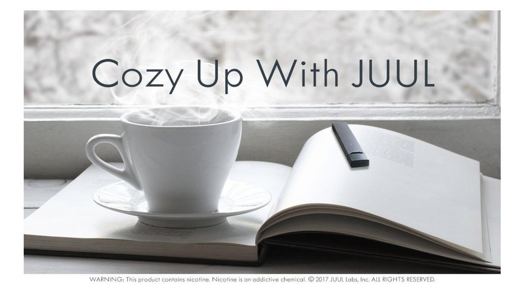 Talking Points: JUUL is illustrated as a harmless, everyday item once again by being placed beside common household items and drinks like coffee.