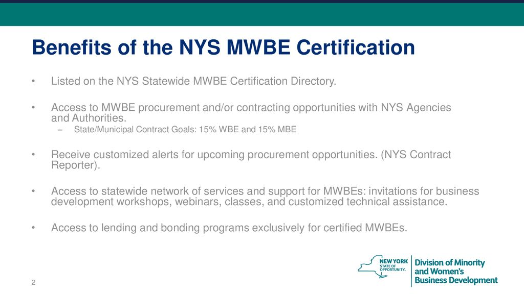 Certification 101 An Overview On The New York State Mwbe