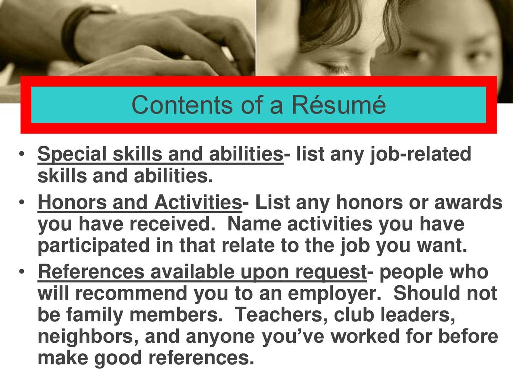special job related skills