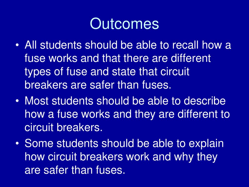 To Understand How Fuses And Circuit Breakers Work Ppt Download Does A Breaker 2 Outcomes All Students Should