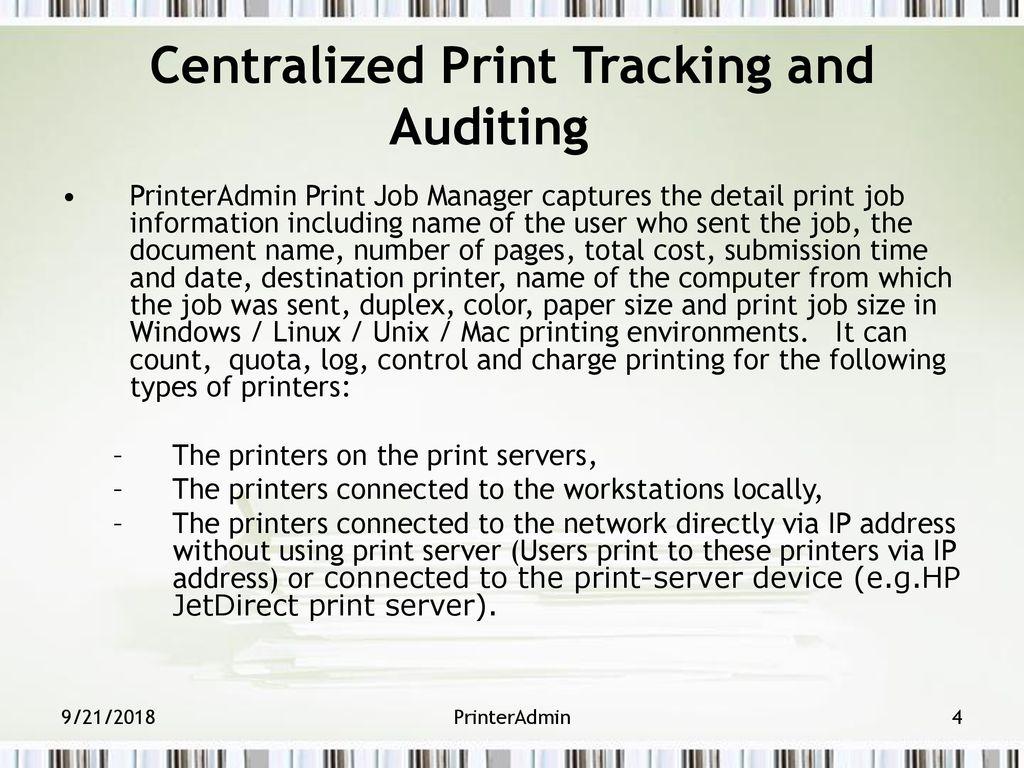 Printer Admin Print Job Manager - ppt download