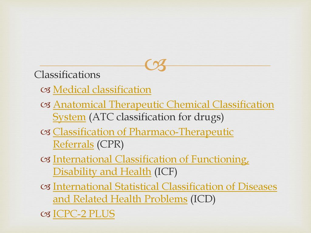 Classifications Medical classification. Anatomical Therapeutic Chemical Classification System (ATC classification for drugs)