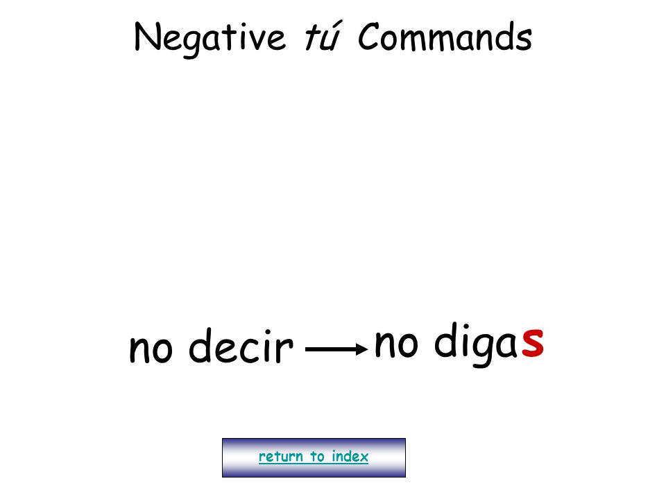 Negative tú Commands s no diga no decir return to index
