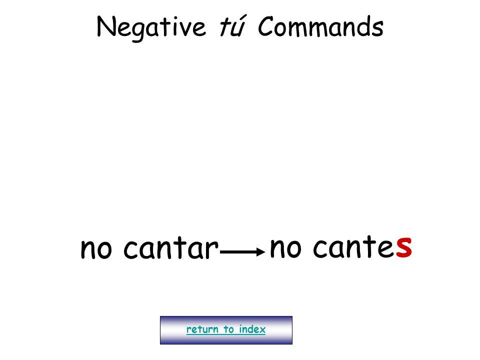 Negative tú Commands s no cantar no cante return to index