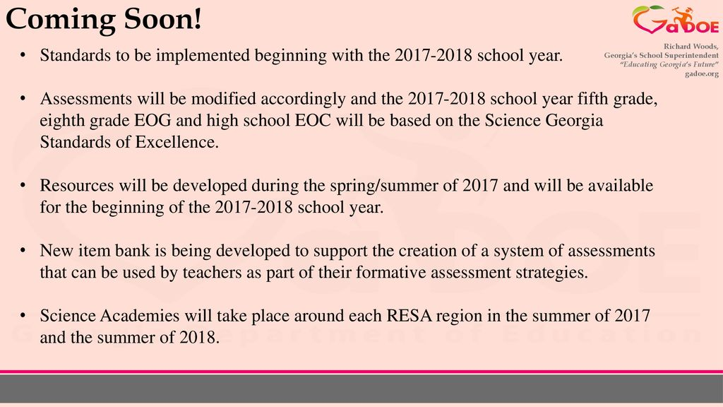 Changes in the Science Standards and Professional Learning