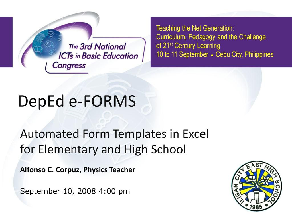 DepEd e-FORMS Automated Form Templates in Excel for Elementary and