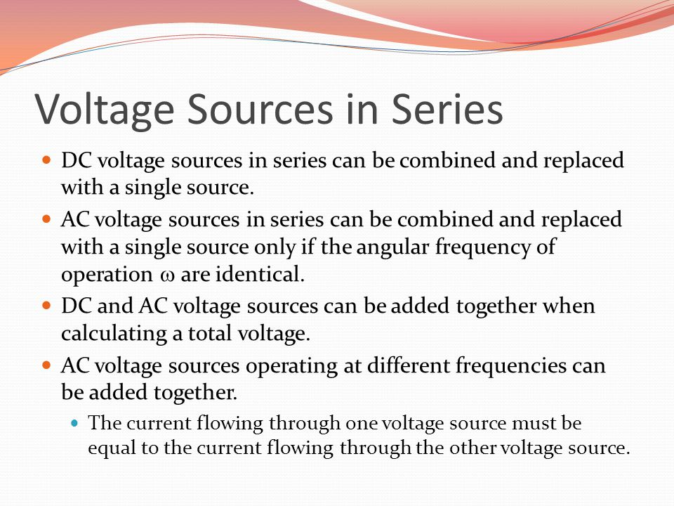 Voltage Sources in Series
