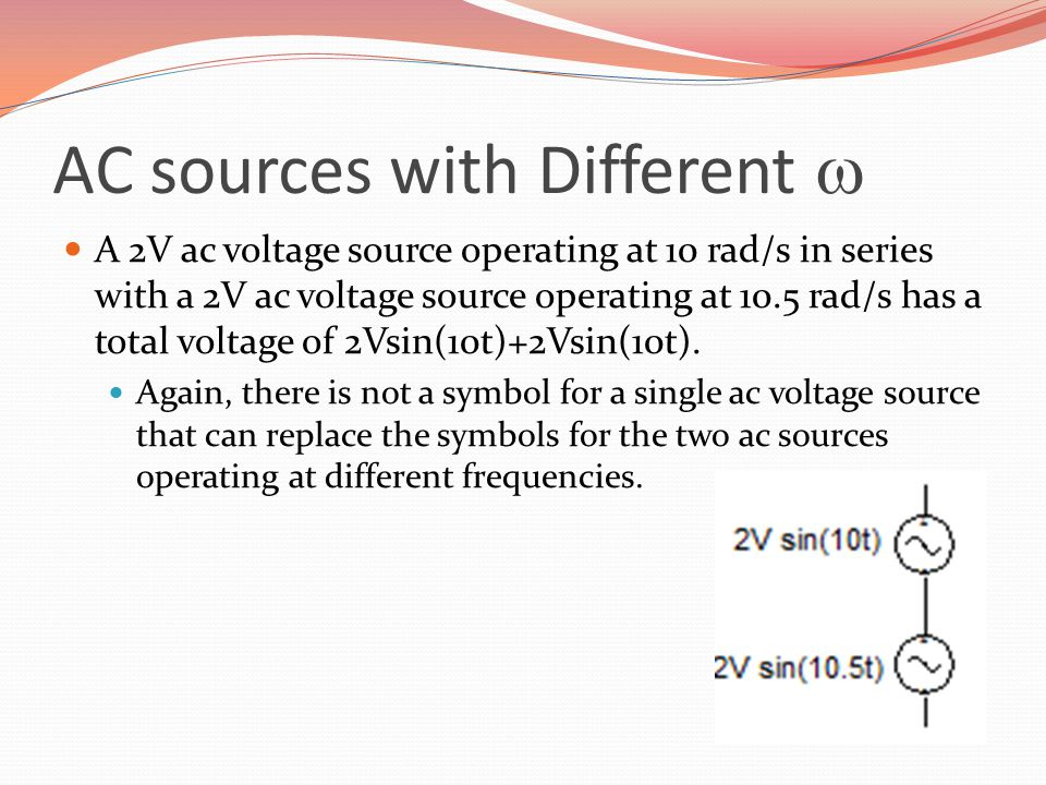 AC sources with Different w