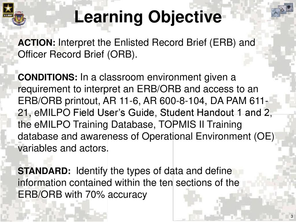 Learning Objective Officer Record Brief (ORB).