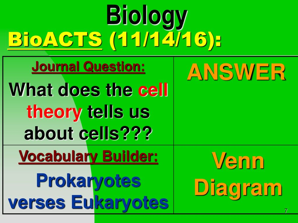 biology answer venn diagram bioacts (11/14/16):