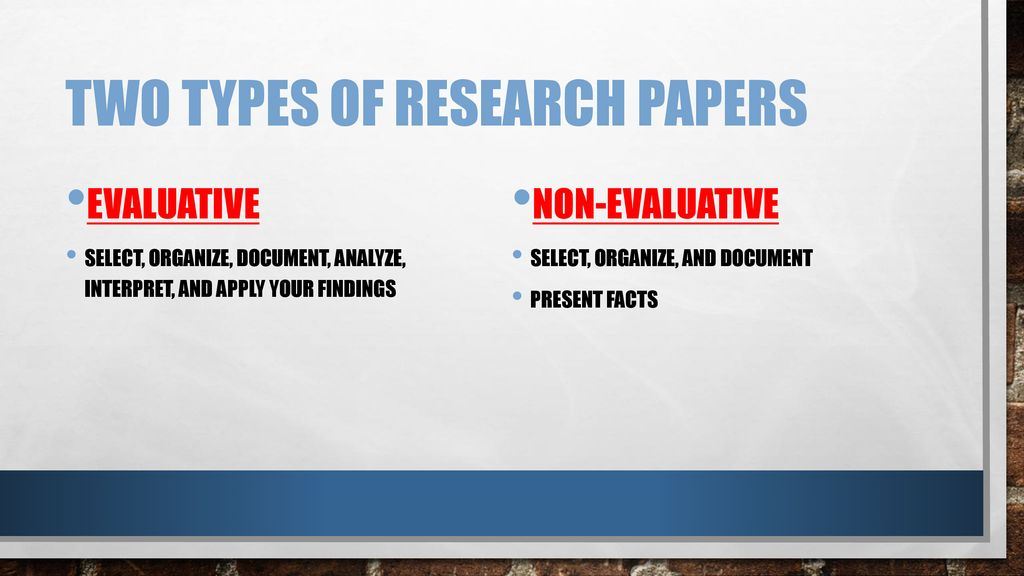 two types of research papers