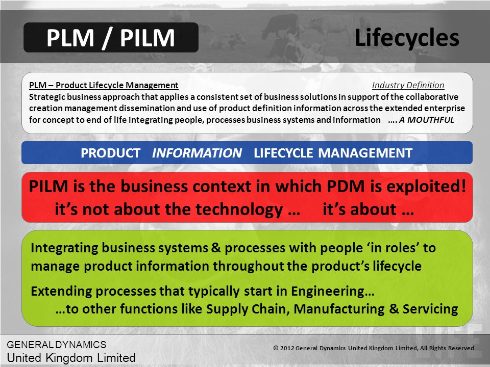 Lifecycles PLM / PILM. PLM – Product Lifecycle Management Industry Definition.