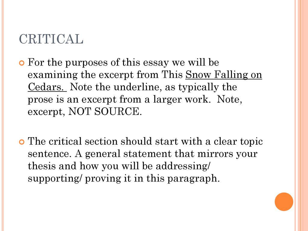 Personal Response To Text Ppt Download Argumentative Essay Snow Falling On Cedars Cedar