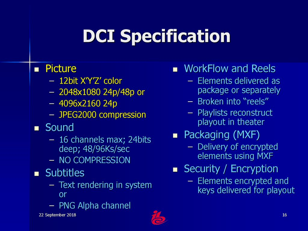 The DCI Specification for Post Production - ppt download