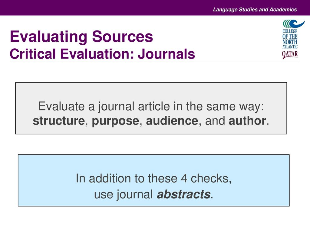 how to evaluate a journal article
