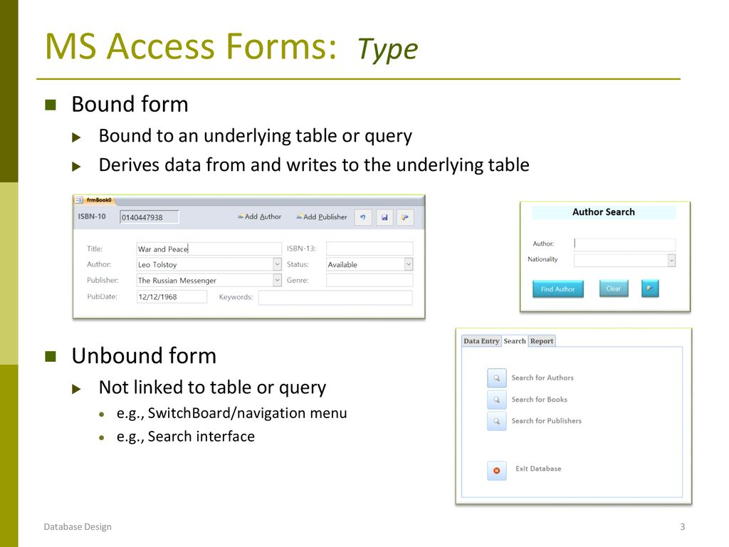 DB Implementation: MS Access Forms - ppt download