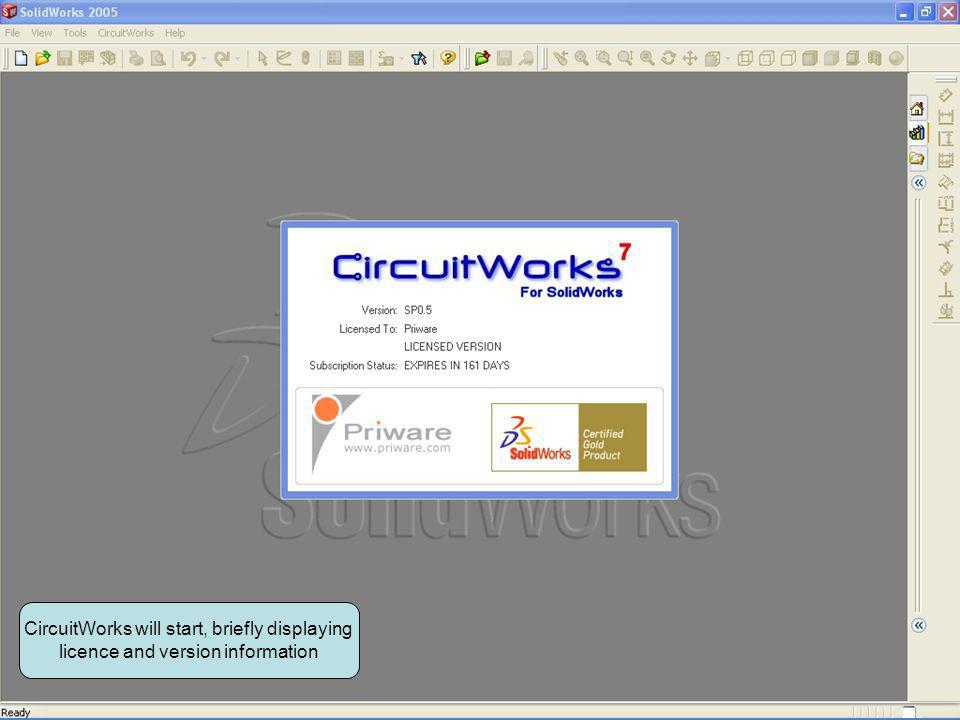 CircuitWorks will start, briefly displaying