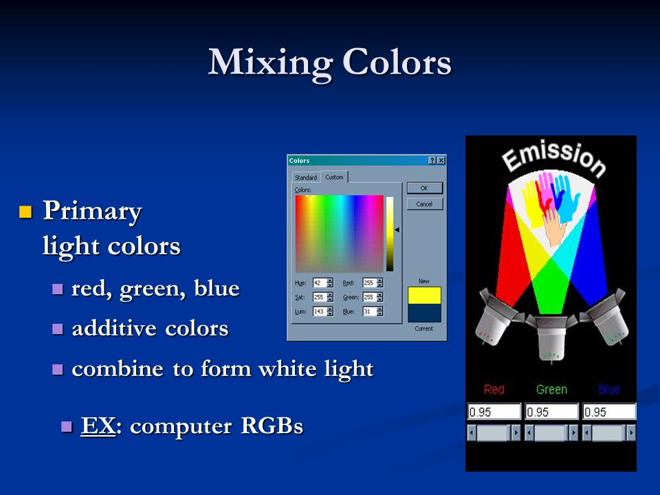 Mixing Colors Primary light colors red, green, blue additive colors
