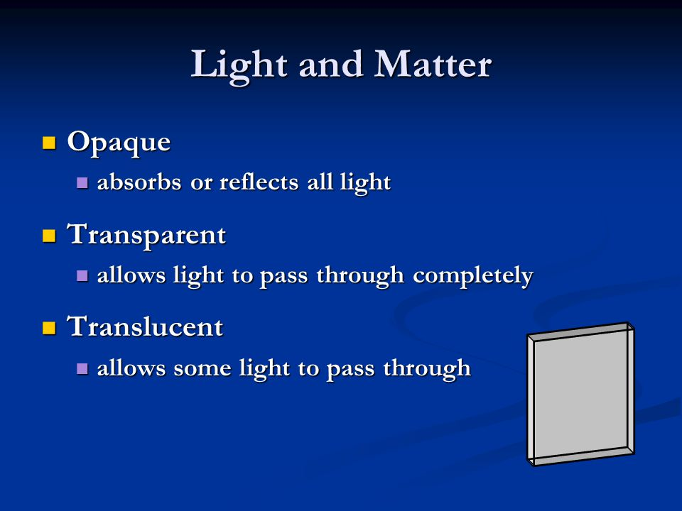 Light and Matter Opaque Transparent Translucent