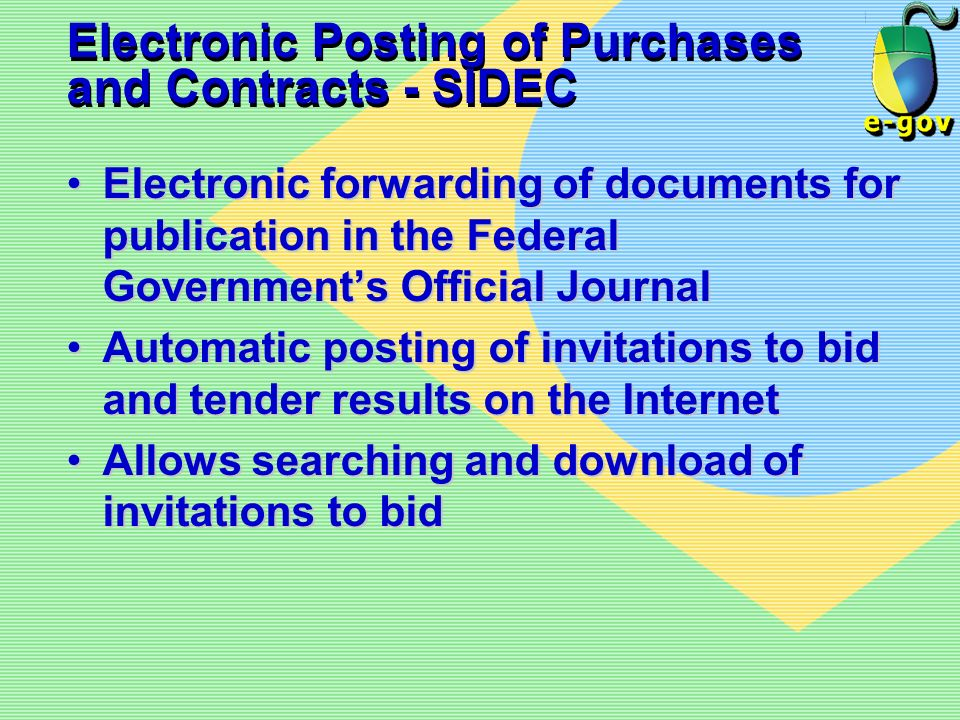 Electronic Posting of Purchases and Contracts - SIDEC