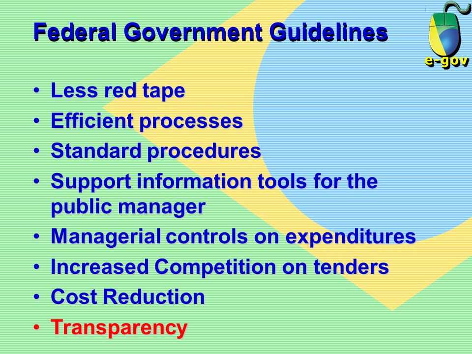 Federal Government Guidelines