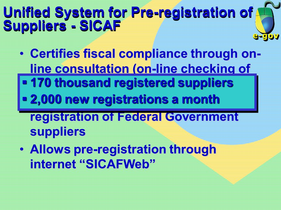 Unified System for Pre-registration of Suppliers - SICAF