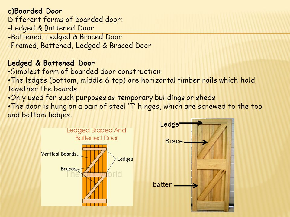 c)Boarded Door Different forms of boarded door: -Ledged & Battened Door. -Battened, Ledged & Braced Door.