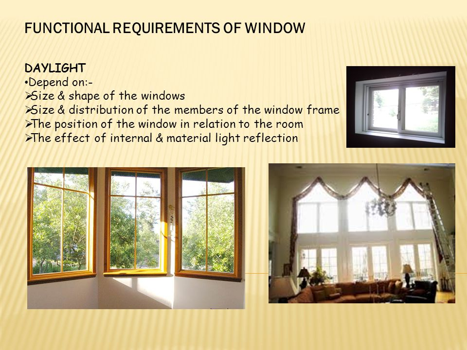 FUNCTIONAL REQUIREMENTS OF WINDOW