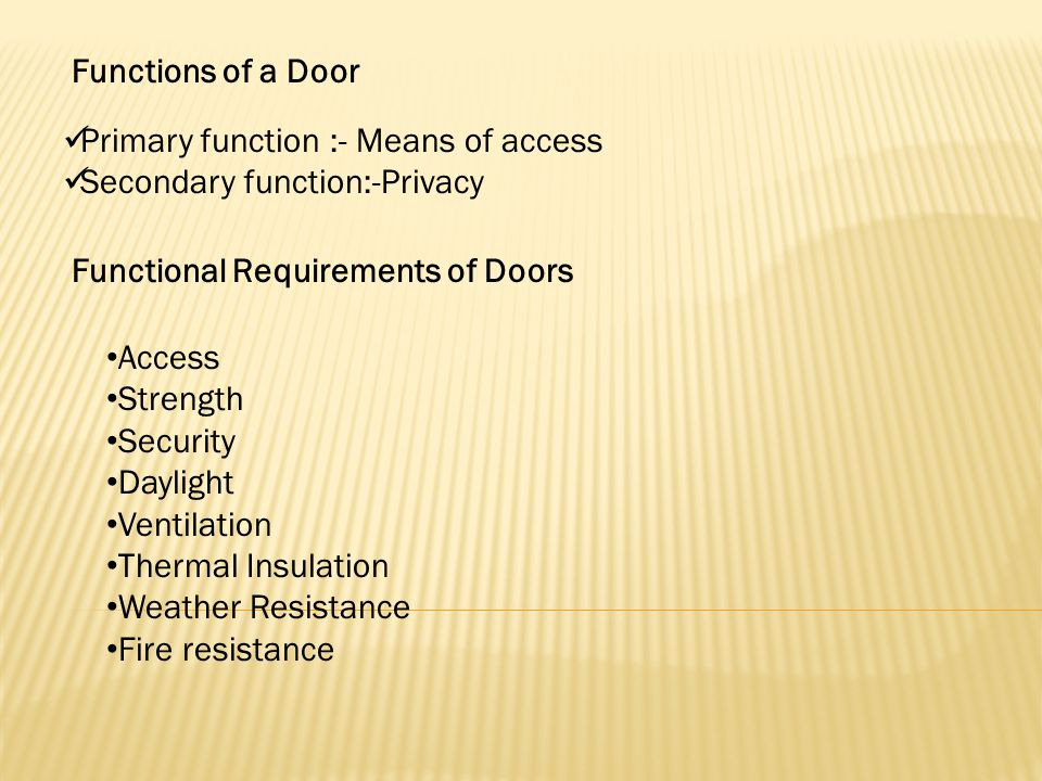 Functions of a Door Primary function :- Means of access. Secondary function:-Privacy. Functional Requirements of Doors.
