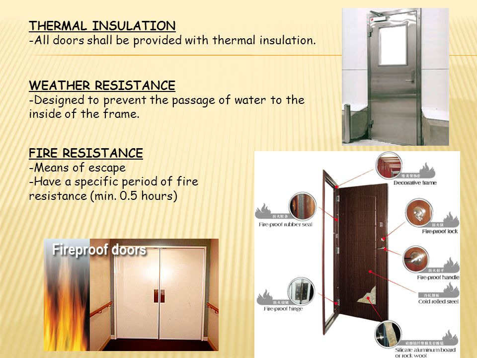 THERMAL INSULATION -All doors shall be provided with thermal insulation. WEATHER RESISTANCE.