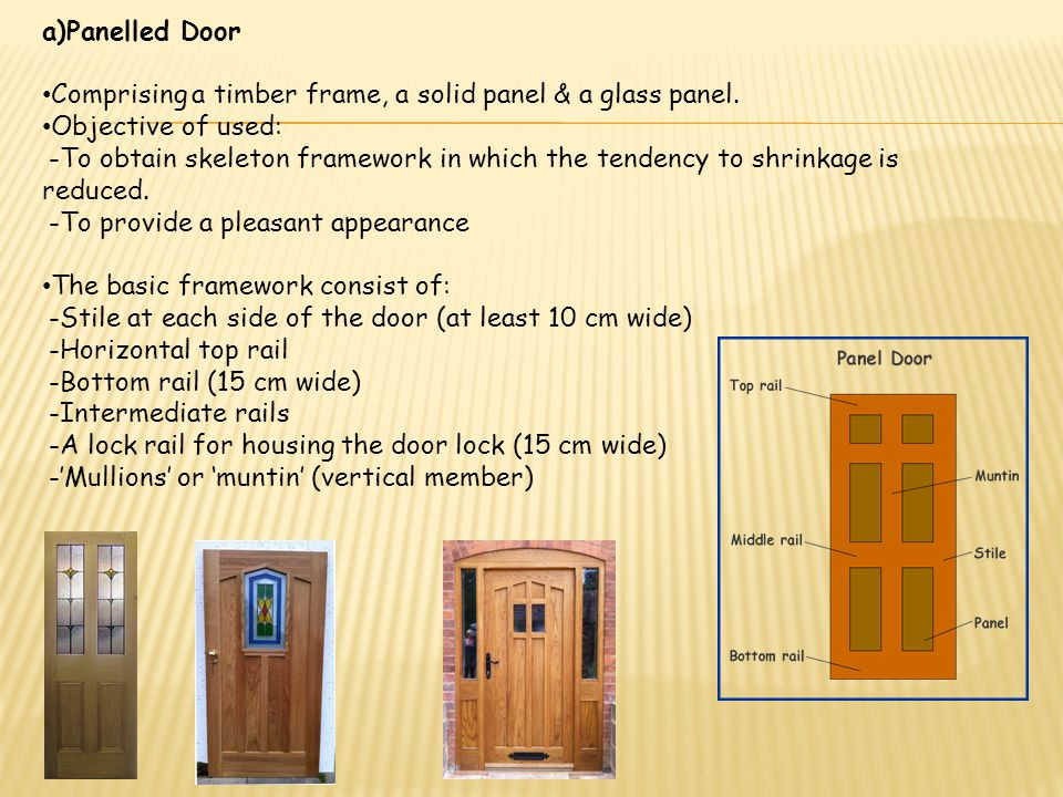 Panelled Door Comprising a timber frame, a solid panel & a glass panel. Objective of used: