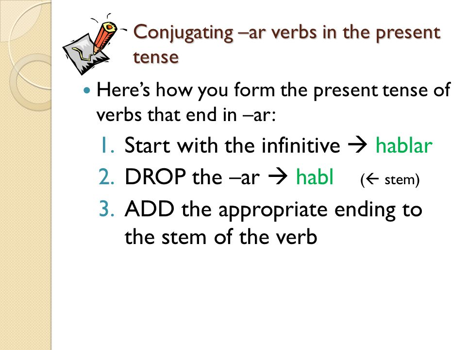Conjugating –ar verbs in the present tense
