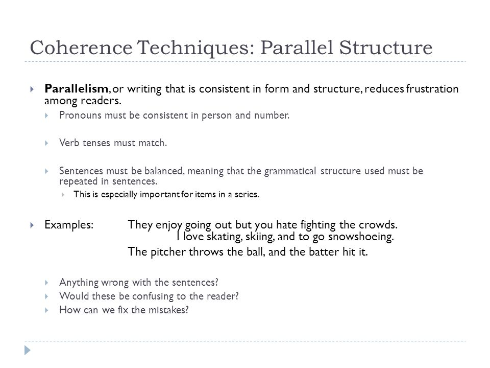 Coherence Techniques: Parallel Structure