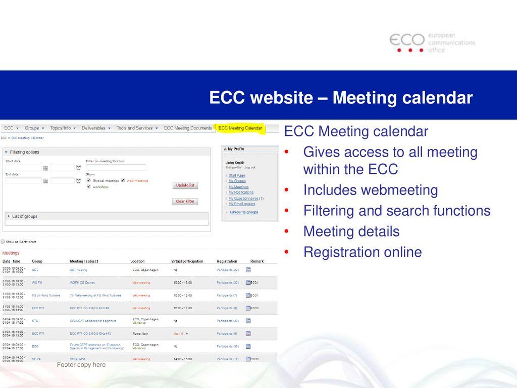 Ecc Calendar.Cept Portal Ecc Website And Other Tools Ppt Download