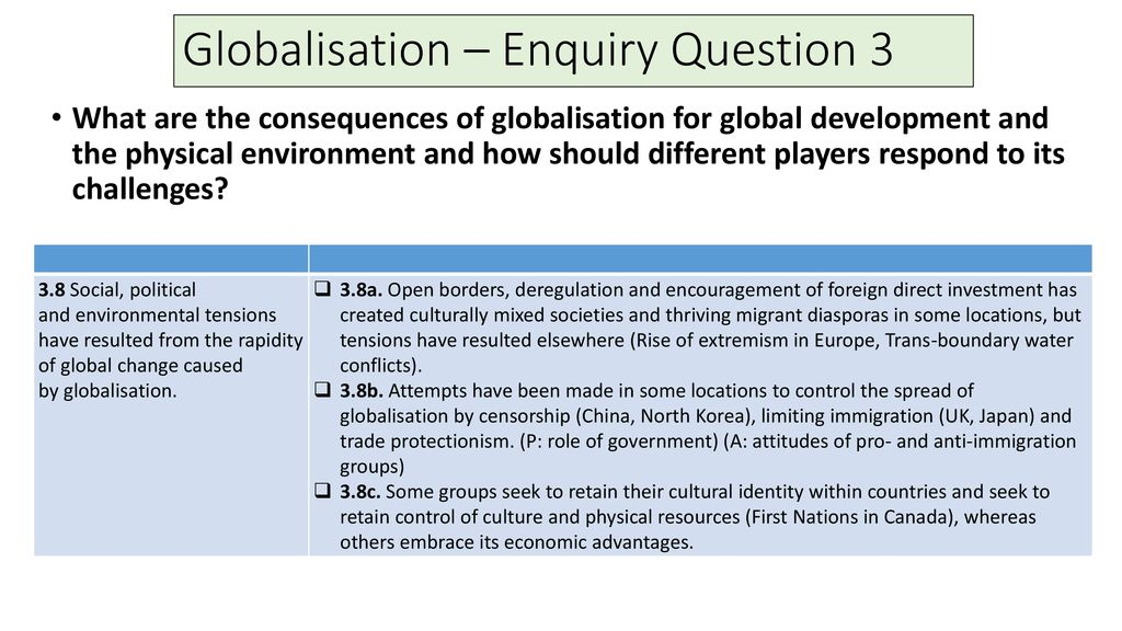 Social, Environmental and Political Tensions caused by Globalisation