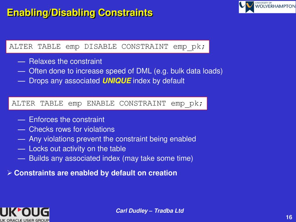 execute immediate alter table disable constraint