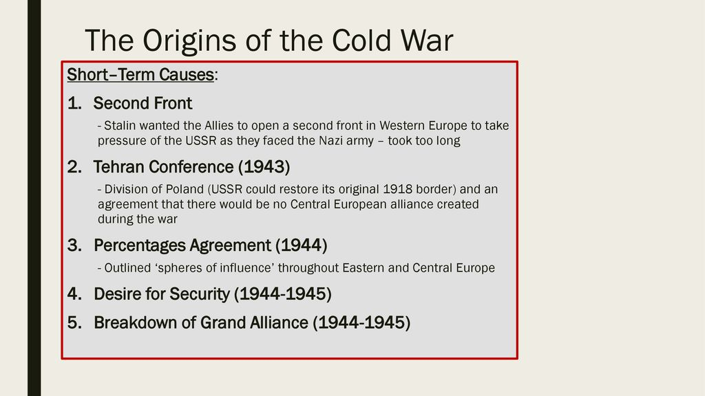 The Origins Of The Cold War Ppt Download