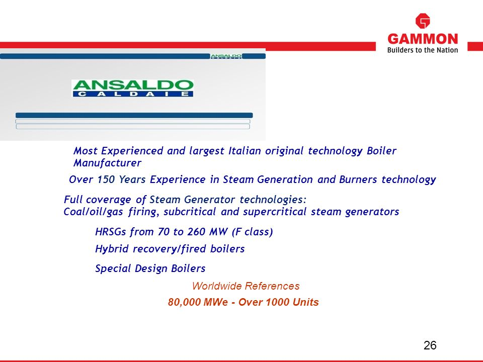 Most Experienced and largest Italian original technology Boiler Manufacturer