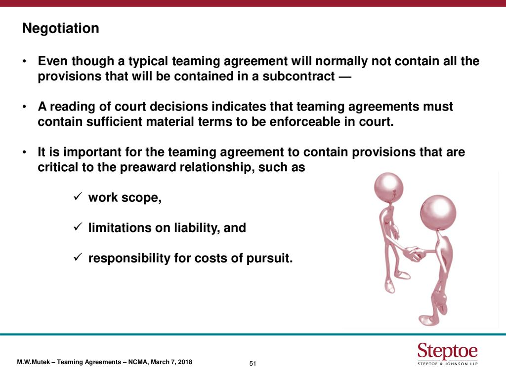 Teaming Agreements Competitive Discriminator Or Legal Liability