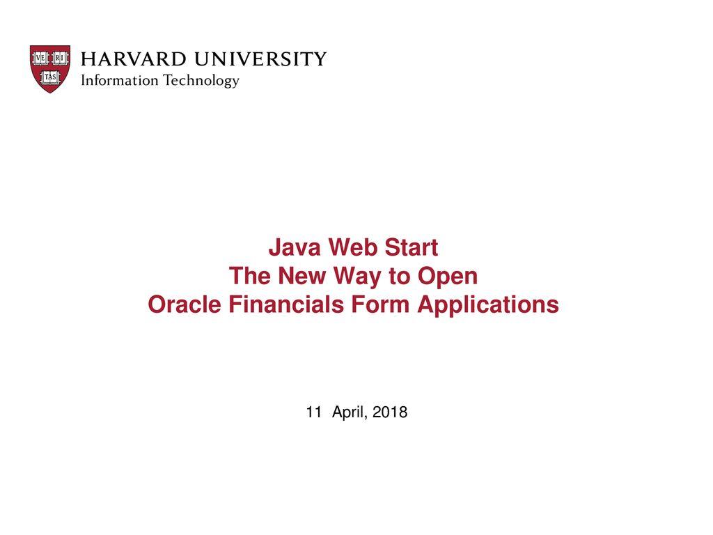 Java Web Start The New Way to Open Oracle Financials Form