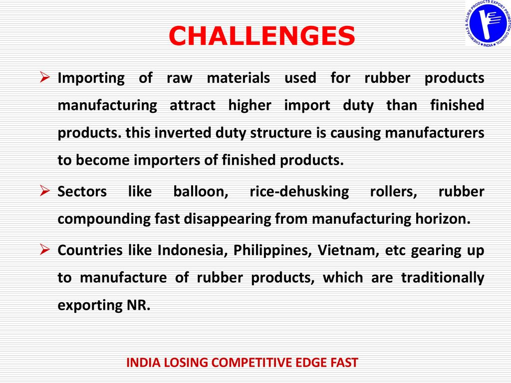 EXPORTS OF RUBBER PRODUCTS & AUTO TYRES & TUBES FROM INDIA - ppt